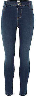 River Island Girls blue Molly high waisted skinny jeans