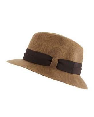 Etro Men's Paisley-Print Wool Fedora Hat