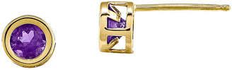 FINE JEWELRY Round Genuine Amethyst 14K Yellow Gold Bezel Stud Earrings