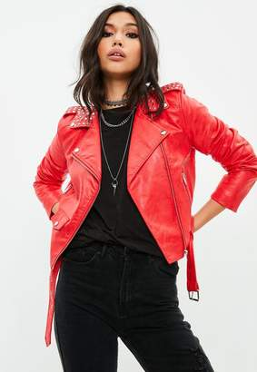 Missguided Red Ultimate Studded Collar Biker jacket