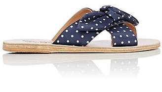 Ancient Greek Sandals Women's Thais Bow-Embellished Satin Slide Sandals - Navy