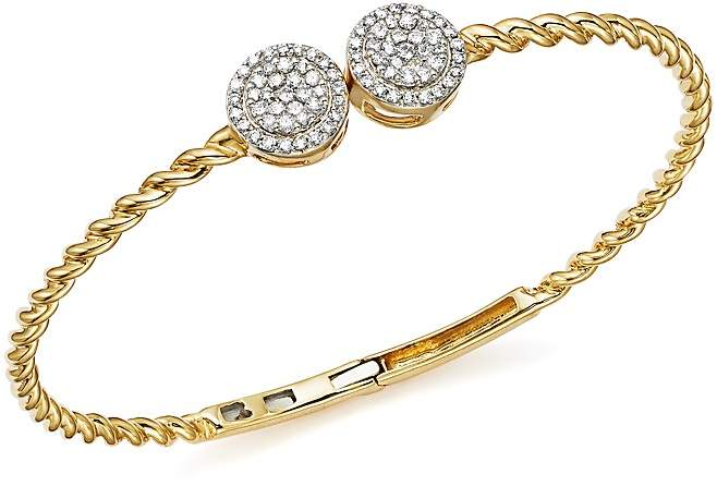 Bloomingdale's Diamond Cluster Twisted Bangle in 14K Yellow Gold, .60 ct. t.w. - 100% Exclusive