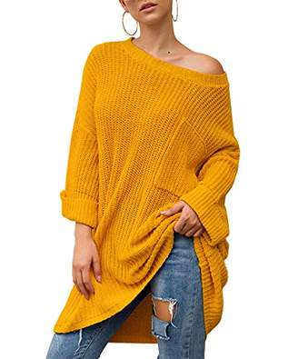 KIRUNDO Women's Winter Long Knitted Sweater Dress Round Neck Long Sleeves Oversized Loose Solid Color Pullover (
