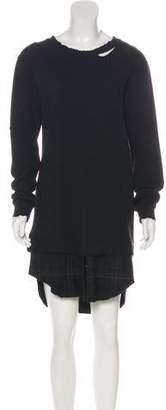 RtA Denim Wool-Blend Distressed Midi Dress