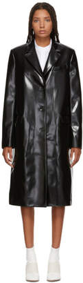 Jil Sander Navy Black Faux Leather Coat