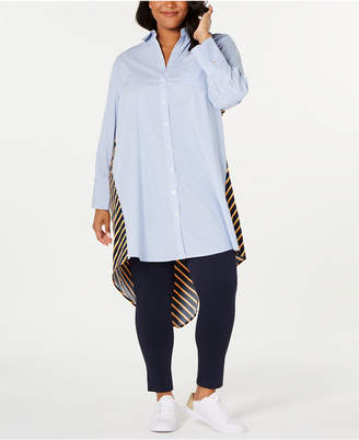 Tommy Hilfiger Plus Size Mixed-Stripe High-Low Tunic
