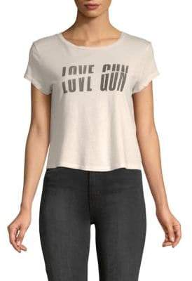 Mother Goodie Goodie Distressed Cropped Cotton Tee