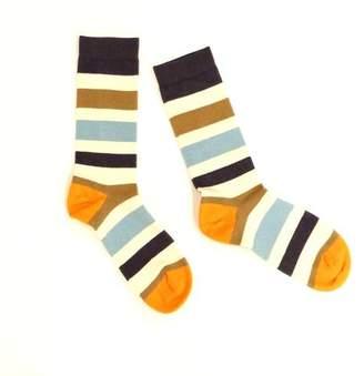 Blade + Blue Khaki, Cream, Blue & Orange Multi Stripe Socks