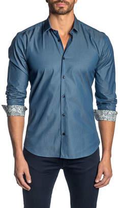 Jared Lang Men's Solid Poplin Sport Shirt w/ Contrast Facing