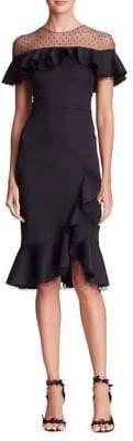 Marchesa Asymmetric Mesh Dress