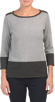 Three-quarter Sleeve Color Block Sweater