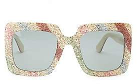 80e0b26cdf98a Gucci Women s White Glitter Oversized Rectangular Sunglasses 53MM