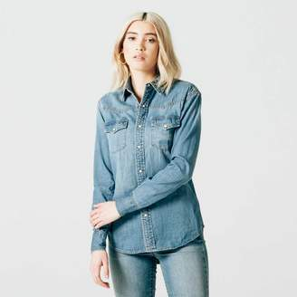 DSTLD Womens Snap Denim Button Down Shirt in Light Vintage