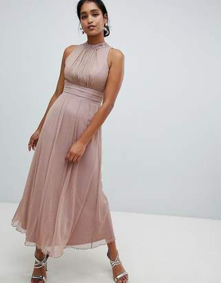 Little Mistress halterneck maxi dress