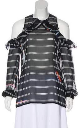 Preen by Thornton Bregazzi Cold-Shoulder Sheer Silk Top