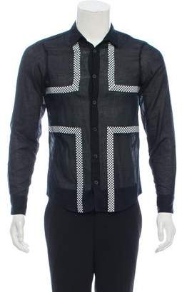 Alexander McQueen Semi-Sheer Checker-Trim Shirt