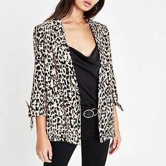 River Island Brown leopard print tie sleeve blazer