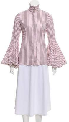 Caroline Constas Striped Bell-Sleeve Button-Up