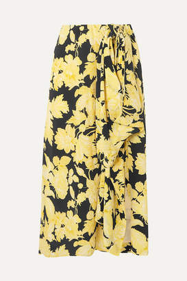 Stine Goya Lilly Draped Floral-print Silk-crepe Midi Skirt - Pastel yellow