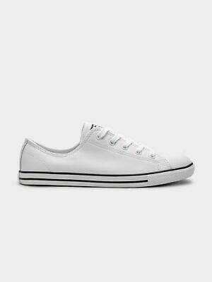f238723f693a Converse Womens Chuck Taylor All Star Dainty Low-Top Sneakers in White  Leather