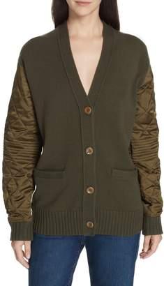 Proenza Schouler PSWL Quilted Sleeve Merino Wool Cardigan