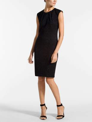 St. John Blister Knit Metallic Jacquard Dress