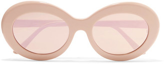 Sunday Somewhere - Kurt Oval-frame Acetate Mirrored Sunglasses - Pink $250 thestylecure.com