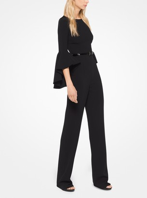 Michael Kors Stretch Wool-Crepe Belted Jumpsuit