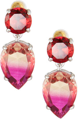 Kenneth Jay Lane Double Stone-Drop Earrings, Fuchsia