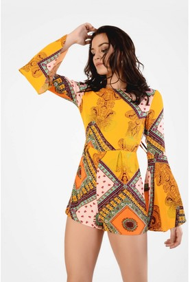 Glamorous Tile Print Playsuit With Deep Back And Wide Sleeves