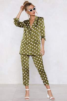 Nasty Gal Going Somewhere Green Polka Dot Pants