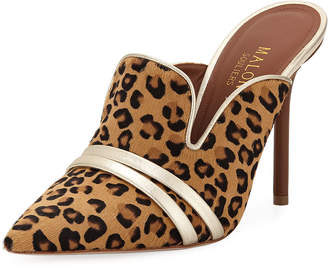 Malone Souliers Hayley Leopard-Print High Mules w/ Double Straps