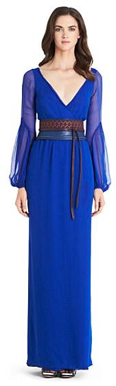 Diane von Furstenberg Catroux Chiffon Wrap Gown In Blue