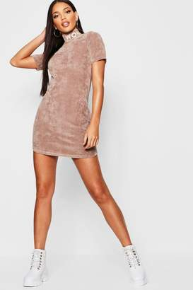 boohoo Velour Woman Embroidered Bodycon Dress