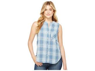 True Grit Dylan by Genuine Indigo Linens Hayley Sleeveless Shirt Denim Small Plaids Women's Clothing