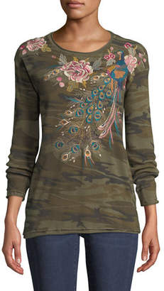 Johnny Was Quito Long-Sleeve Thermal Embroidered Top, Plus Size