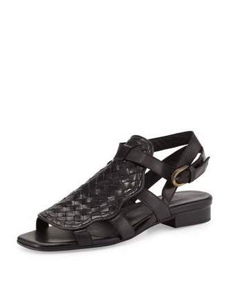 Sesto Meucci Gala Woven Leather Flat Sandal, Black $360 thestylecure.com