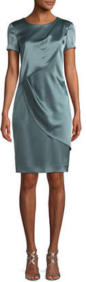 St. John Liquid Satin Sheath Cocktail Dress