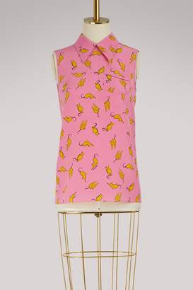 Miu Miu Cats print silk skirt
