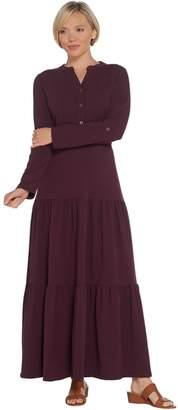 Denim & Co. Button Y-Neck Tiered Maxi Dress w/ Roll Tab Sleeve