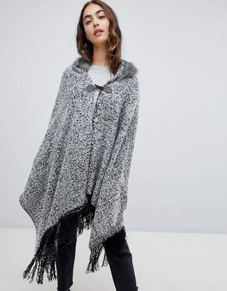 QED London Poncho Cape With Fringe Trim