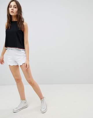 Asos Design DESIGN Scallop Hem Jersey Shorts