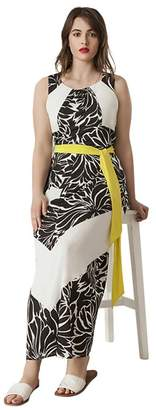 Live Unlimited Black And White Printed Maxi Dress With Contrast Belt