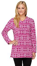 Denim & Co. Petite Printed Fleece V-neckTunic