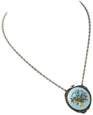 One Kings Lane Vintage Antique Enamel Pendant Watch Necklace - Owl's Roost Antiques