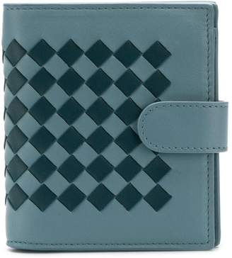 Bottega Veneta two tone Intrecciato flap wallet