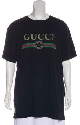 Gucci 2018 Oversize Floral-Appliqué T-Shirt