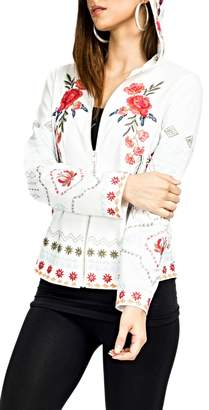 Adore Embroidered Floral Hoodie