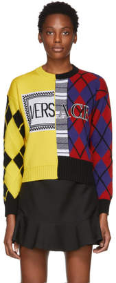 Versace Yellow and Multicolor Logo Reconstructed Sweater