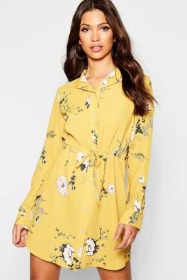 boohoo Floral Tie Waist Shirt Dress